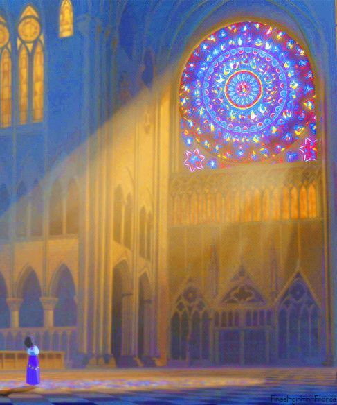 Esmeralda within the Cathedral Concept art from Disney's Hunchback of Notre Dame - Artist Unknown
