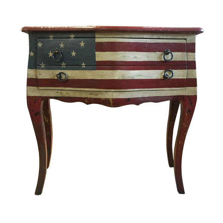 US Vintage Console. Vintage finishing give this console a retro feel. The Union Jack Classic Cabinet features rounded edges and curved cabriole legs for a delicate, elegant look. Add some classic atmosphere to your living space.