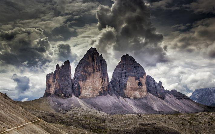 Download wallpapers Tre Cime di Lavaredo, Dolomites, mountains, Italy