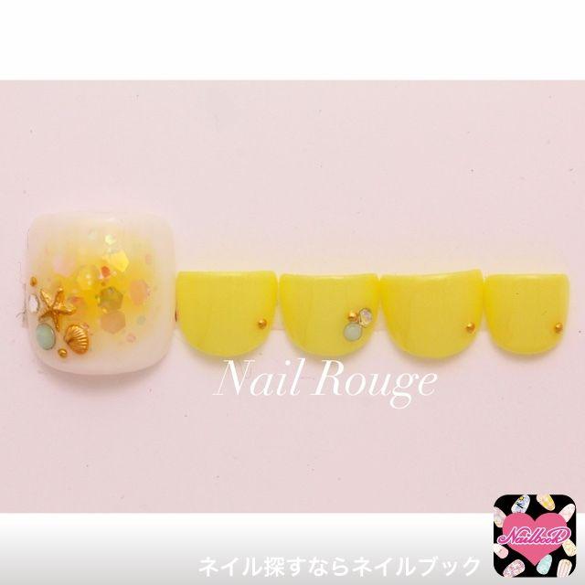 ネイル 画像 ネイルルージュ 中野坂上 1456760 黄色 フット