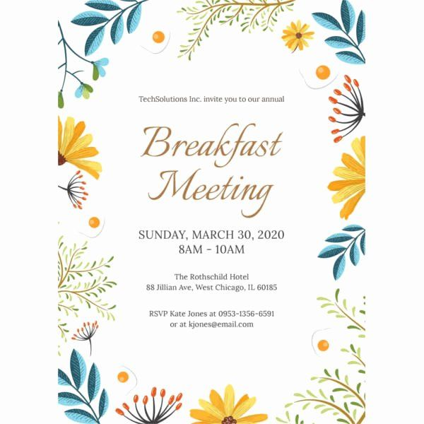 Free Breakfast Invitation Template Unique 60 Meeting Invitation Templates Graduation Invitations Template Free Wedding Invitation Templates Invitation Template