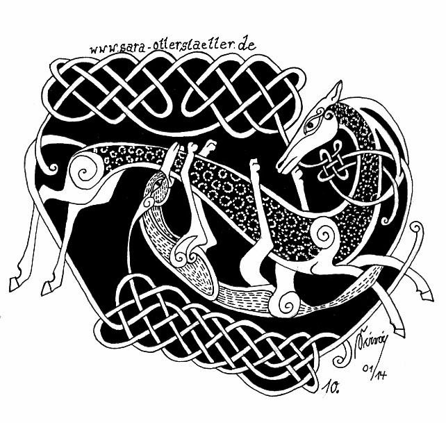 Celtic knot - Horse and Wild Dog.  Fineliner, ink and white opague gel pen
