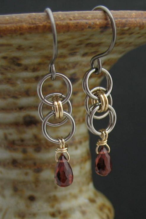 Red Garnet Chainmaille Earrings 14k Goldfill by LoneRockJewelry