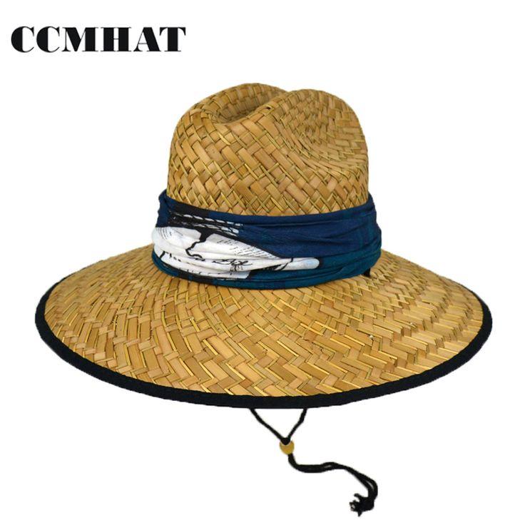 CCMHAT Wide Brim Straw Hat For Men Summer Sun Hats For Women Scarf Decoration Solid Lifeguard Caps Sunscreen Women Chapeau Femme #Affiliate