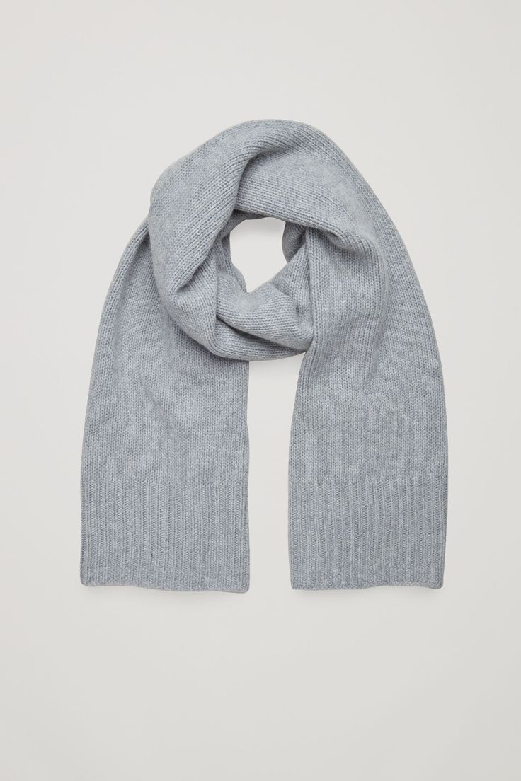 COS image 1 of Cashmere-blend scarf in Grey