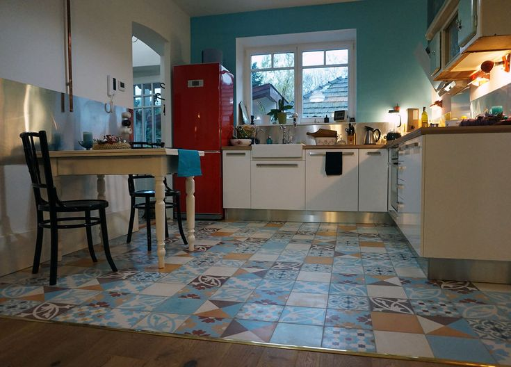 patchwork cement tiles in a youthful kitchen