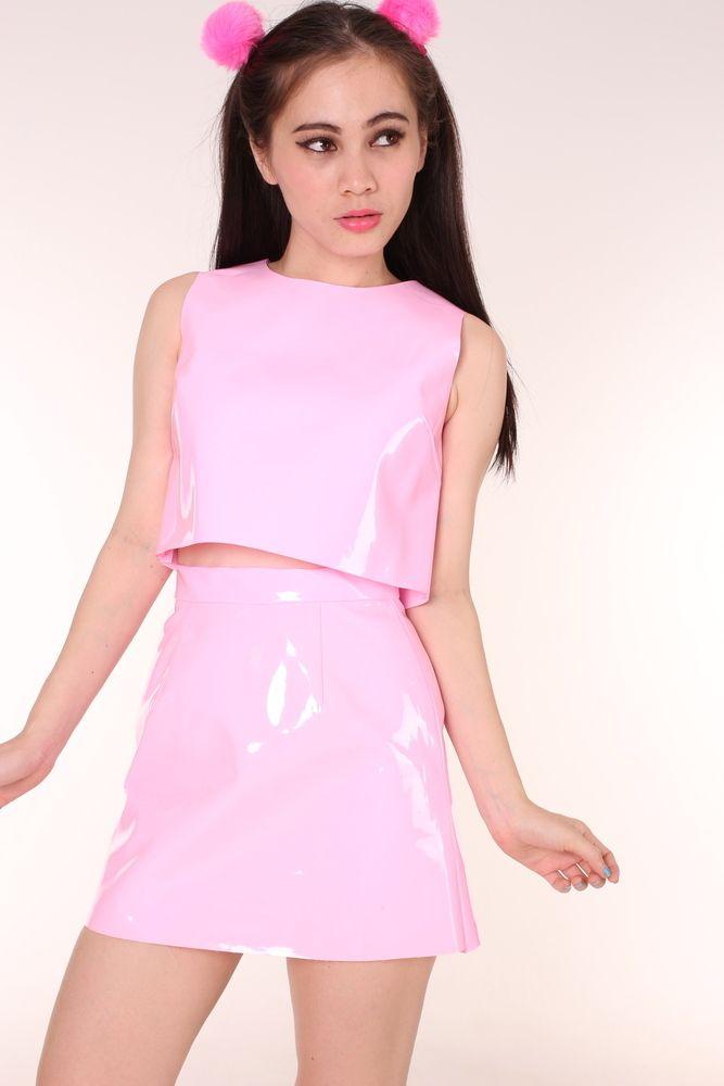 Image of Made To Order - Pink PVC Motel Set