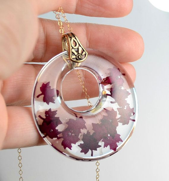 Resin Necklace With Red Rose Petals Resin Necklace