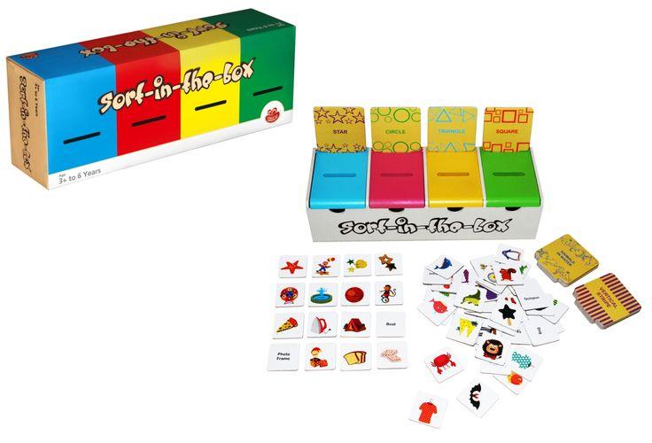 Sort in a box fun.  www.gymathstics.co.za