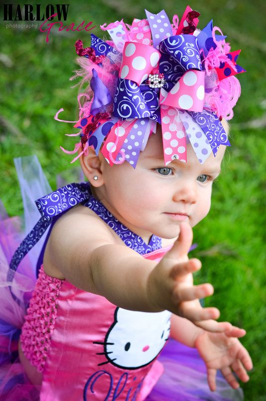 Miss Kitty Purple and Hot Pink Bling Over the Top Hair Bow with matching headband by sanchezc30 on Etsy