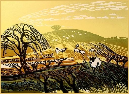 """Winter Fields with Sheep"" Linocut by Rob Barnes. http://www.robbarnesart.co.uk/ Tags: Linocut, Cut, Print, Linoleum, Lino, Carving, Block, Woodcut, Helen Elstone, Landscape, Animals, Sheep, Trees, Sky"