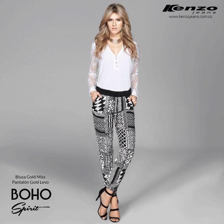 •Chic•Retro• Figuras geométricas, bota ancha, mangas sueltas y accesorios notorios hacen que tu outfit tenga un look #ChicRetro Conoce más en www.kenzojeans.com.co