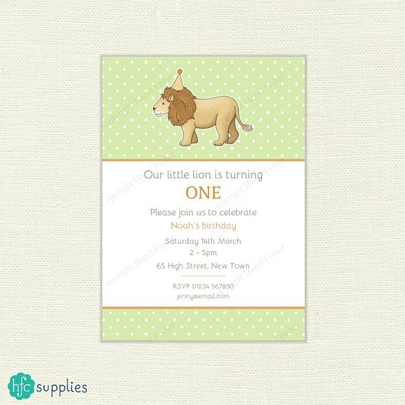 Lion Baby Shower or Birthday Party Invitation - printable somes customised with your choice of wording. Cute lion wearing a party hat design by hfcSupplies Etsy