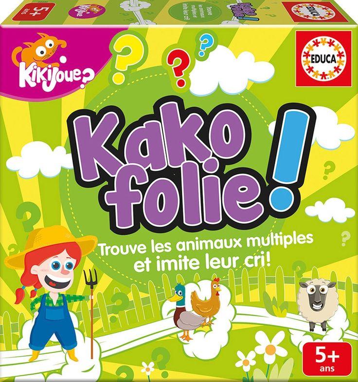 Kakofolie ! - 60 cartes animaux, 6 figurines en carton (les animaux et la fermière) et règles du jeu. -  Age : 5 ans et plus -  Référence : 010978 #Jouets #Jeux #Enfants #Cadeaux #Fête