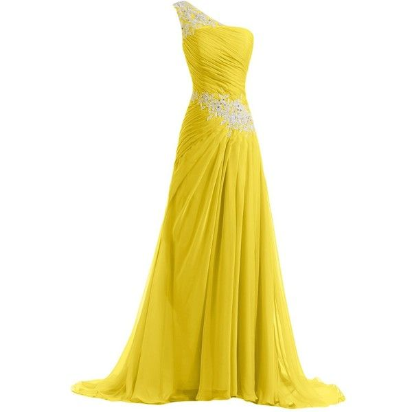 Sunvary New Chiffon and Applique Long Bridesmaid Dresses Evening Prom... ($129) ❤ liked on Polyvore featuring dresses, gowns, long dresses, vestidos, yellow, long prom dresses, yellow evening dress, chiffon evening dress, bridesmaid dresses and evening gowns