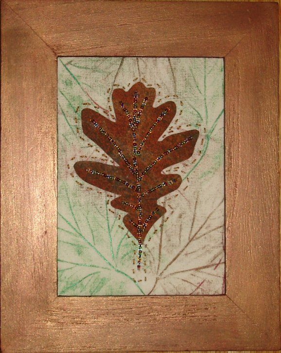 Oak leaf little quilt.  Hand embroidered and beaded, on a hand painted background fabric.