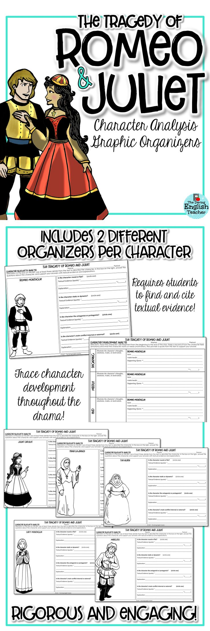 Character analysis graphic organizers for William Shakespeare's 'The Tragedy of Romeo and Juliet.'