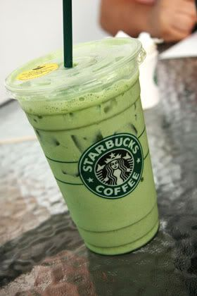 Ice Green Tea Latte from Starbucks-   I make this at home as well using matcha, vanilla almond milk and a shot of vanilla syrup.  yum.