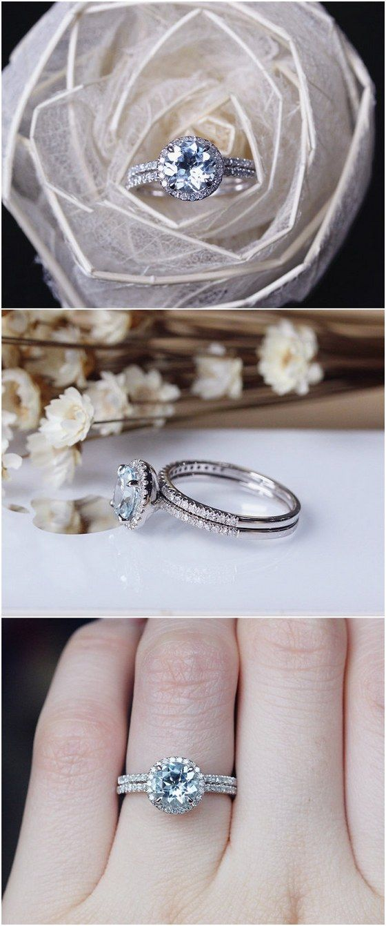 Solid 14K White Gold 7mm Aquamarine Ring Set Aquamarine Engagement Ring / http://www.deerpearlflowers.com/engagement-rings-from-etsy/2/
