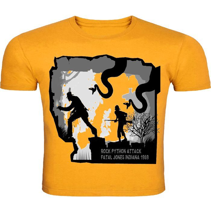"This yellow round neck half-sleeved T-shirt is inspired from the ""Indiana Jones"". its wildlife print is going to bring out the wild in you."