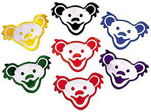 """Grateful Dead - Bear Heads Patch - $3.99  Put one of these cute Grateful Dead Dancing Bear Head patches on your jacket or pants, or even backpack. Each bear head patch measures approximately 3 1/2"""" x 2 1/4"""" . Embroidered patches can be ironed on or sewn on. Officially licensed Grateful Dead merchandise.  Available Colors: Red, Blue, Green, Orange, Yellow, Black"""