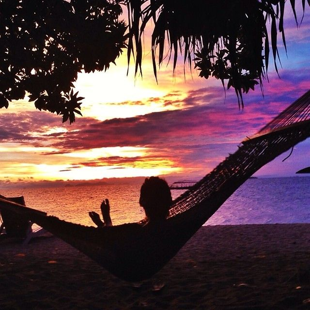 Enjoying a #Fiji sunset from a hammock a few weeks ago.