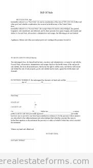 Free Bill Of Sale Printable Real Estate Document