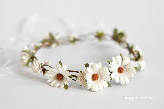 White Daisy Flower Crown Daisy Floral Crown Hair Wreath Flowergirl Halo Rustic Weddin Flower Girl Halo Daisy Flower Crown Bridal Floral Crown