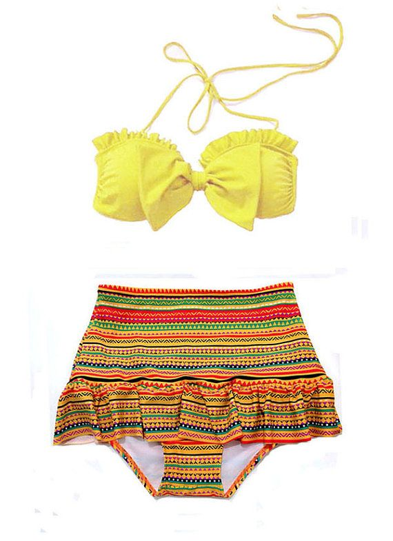 9f9ff1c1332e4 Yellow Bow Bra Top and Tribal Tribute High Waisted by venderstore ...