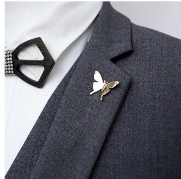 c119cd1dce5 Excited to share this item from my #etsy shop: Butterfly Lapel Pin Gold and Silver  Metal, Enamel Pin Accessories Brooch Pin Boutonniere Buttonhole Fashion ...