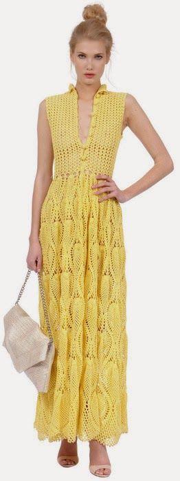 . Crochê Tricô - Gráficos: Vestido Lindíssimo em Crochê. ou Knitting Crochet - Graphics: Lindíssimo Dress Crochet.