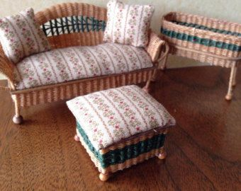 Items similar to Dollhouse Miniature Handmade Wicker Coffee Table on Etsy