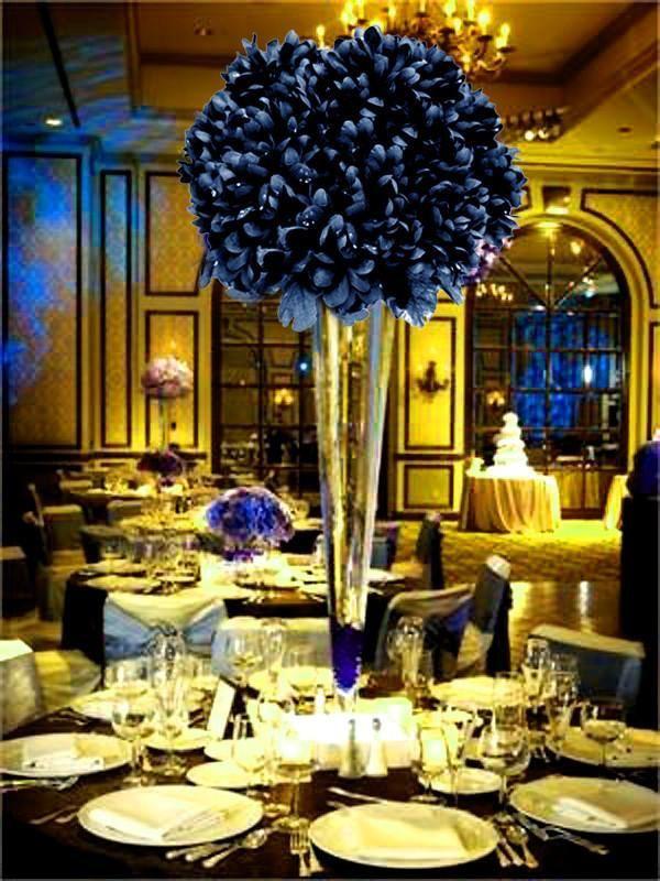 12 Bush 84 Pcs Navy Blue Artificial Silk Chrysanthemum Flowers In