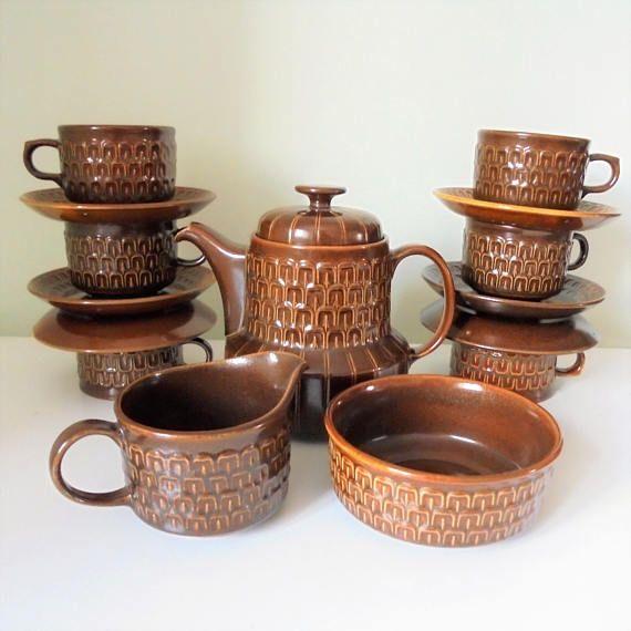Vintage Amber Pennine Wedgwood Complete Tea Set Made in England, Oven-to-Tableware, 1965-1971, Textured/Mid century modern tea set