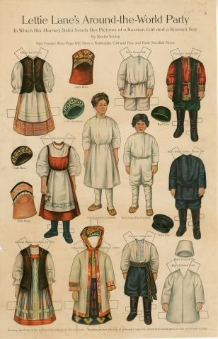 Lettie Lane's Around-the-World Party: Russian Girl and Boy  paper doll  1910  Artist	:  Sheila Young