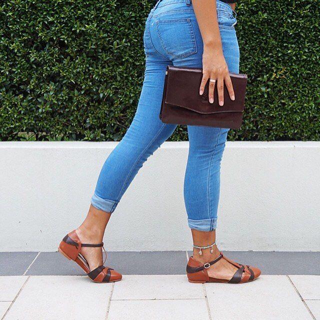 vintage flats leather shoes