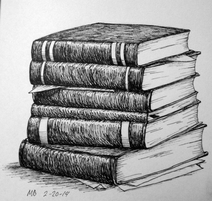 Stack of books pencil drawing