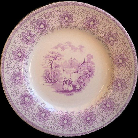 Purple Transferware Side Plate Porcelain Opaque