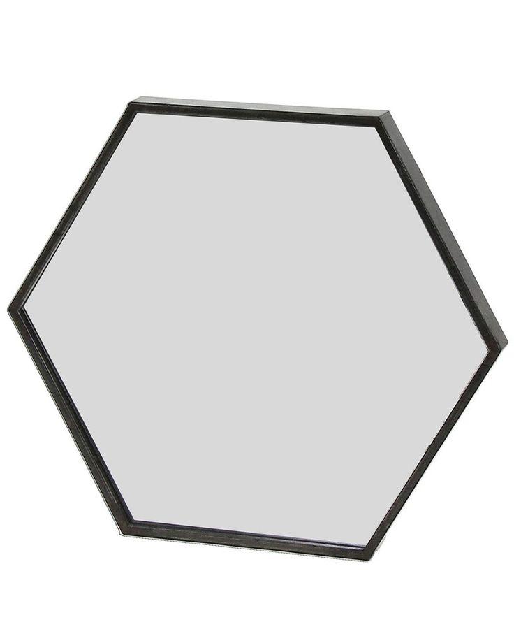 ZEN - BLACK METAL HEXAGON WALL MIRROR W:30CM £49.50
