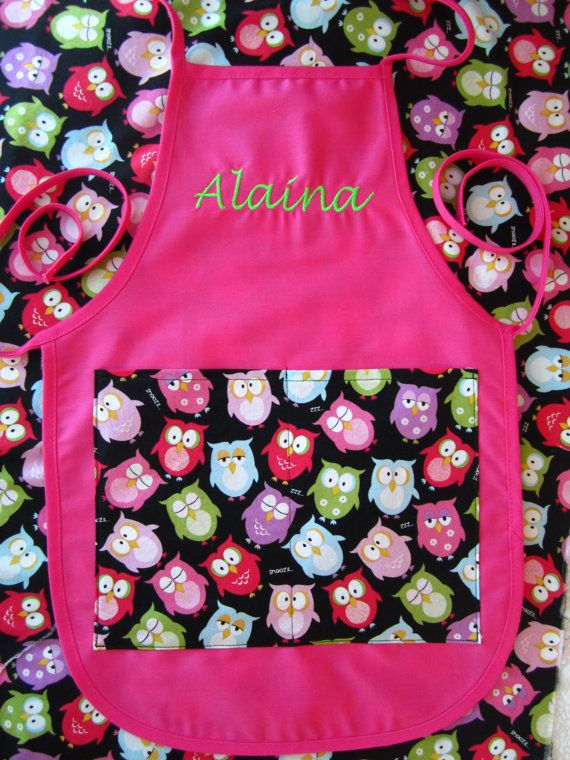 Personalized Owl Patterned Kids Apron - Embroidered  Apron