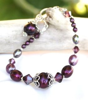 Purple, Eggplant and Peacock Pearls with Swarovski Crystals