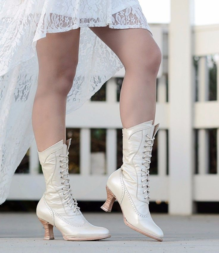 Modern Victorian Lace Up Leather Boots in Pearl | Traditional Wedding Boots | Steampunk | Rustic | Country | Western | Bohemian | Vintage | Gothic | Bohemian | Oak Tree Farms