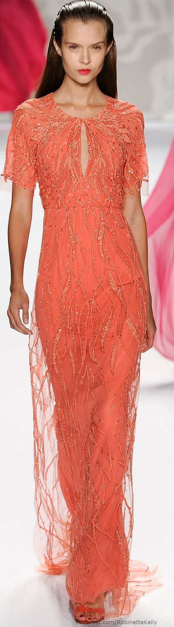 Monique Lhuillier | S/S 14, floor length coral gown, short sleeve w/ keyhole opening, beaded plumes entire length.