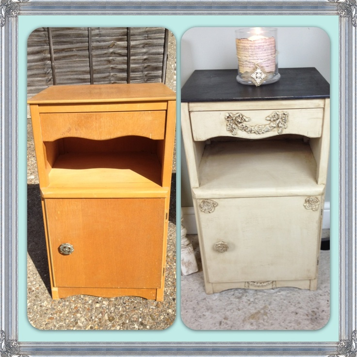 An old bedside cabinet transformed with some of my Furniture appliqués /  Mouldings. After appliqués - 65 Best Our Chic Mouldings Creations Images On Pinterest