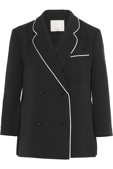 Black polyester, white silk Button fastenings through double-breasted front 100% polyester; trim: 100% silk Dry clean Imported