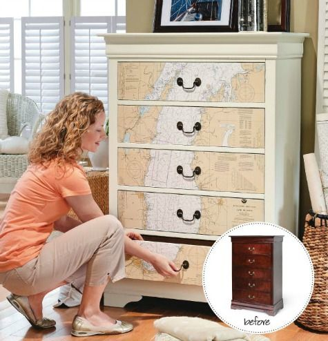 Nautical navigational map for drawer fronts! Great and easy to do project! Featured here: http://www.completely-coastal.com/2016/01/dresseer-makeover-coastal-beach-nautical.html