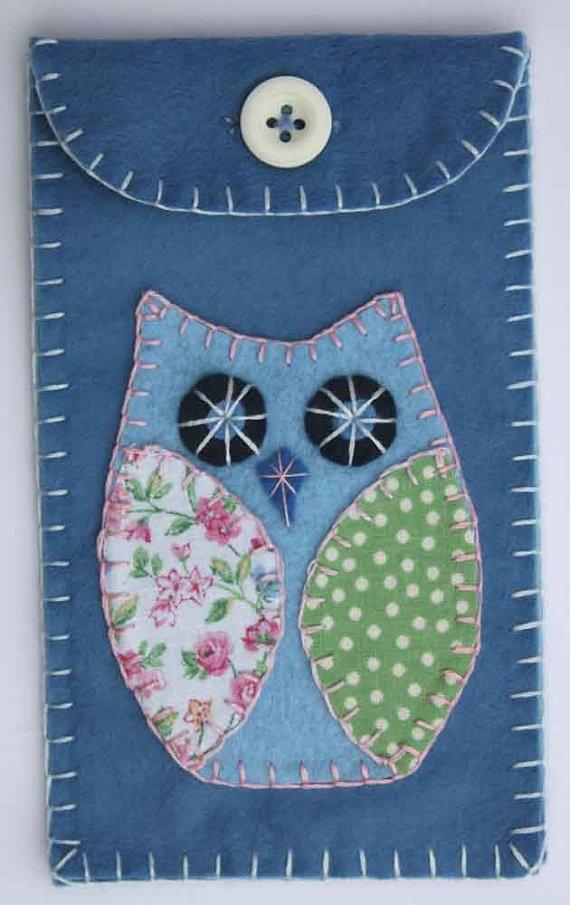 Owl phone case, i pod, gadget case, blue felt