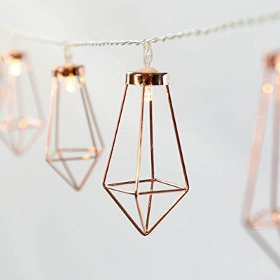 Metal String Lights - Rose Gold - Warm White LEDs - Battery Operated - Timer by Festive Lights