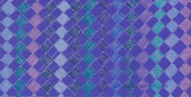 Harlequin checks in shades of blue, purple and green, drawn with colored pencil.