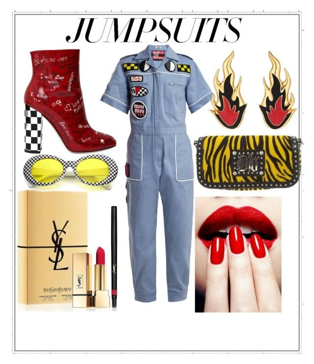 """""""Check yourself"""" by styles-bykim on Polyvore featuring Miu Miu, Versace, Yves Saint Laurent, Dolce&Gabbana, AMBUSH and jumpsuits"""
